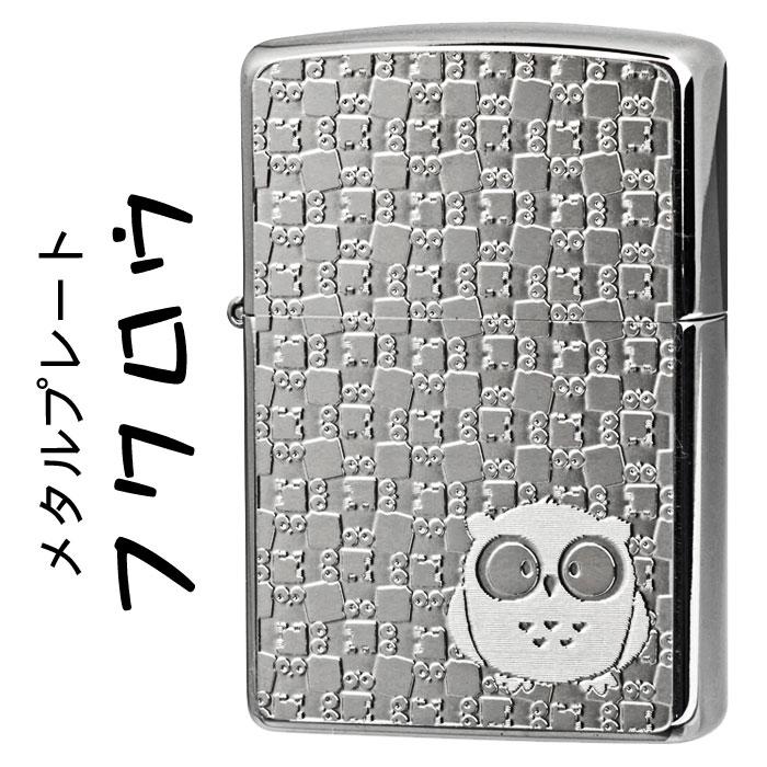 zippo(ジッポーライター)フクロウ メタルプレート貼り ブラッシュクローム画像