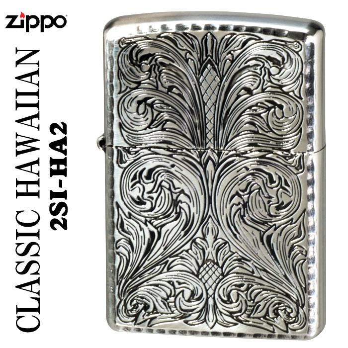 zippo CLASSIC HAWAIIAN SERIES 銀メッキイブシ仕上げエッチング 2SI-HA2画像