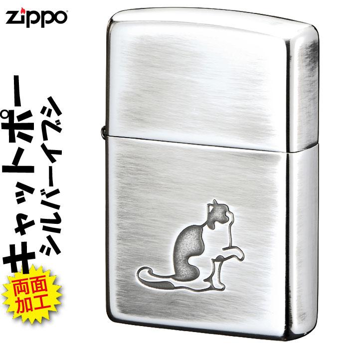 zippo(ジッポーライター)大人気 猫柄 キャットポーSV シルバーいぶし画像