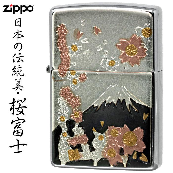 zippo(ジッポーライター)日本の伝統美・電鋳板・桜富士画像
