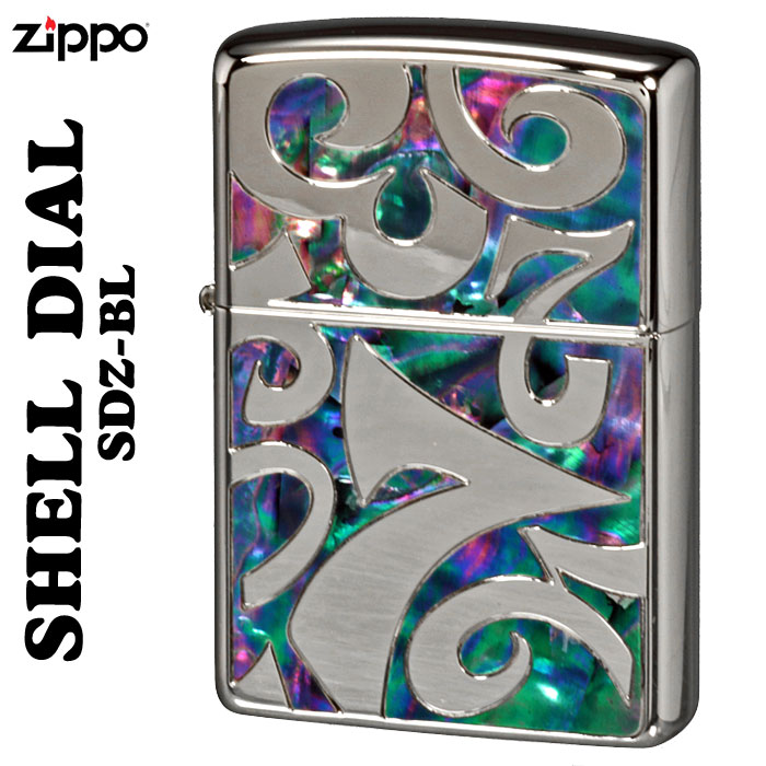 zippo シェルダイアル 貝貼り シェル 深彫り彫刻銀ポリッシュ仕上げSDZ-BL画像