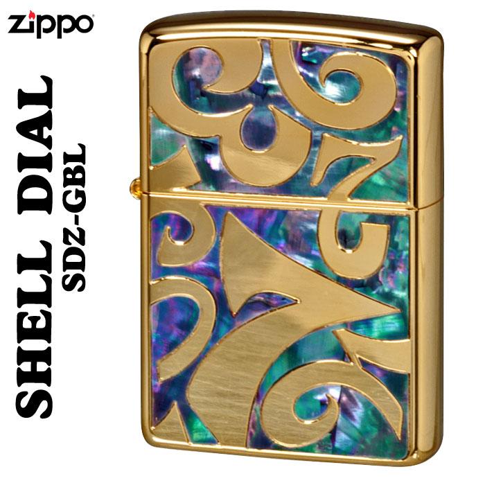 zippo シェルダイアル 貝貼り シェル 深彫り彫刻金ポリッシュ仕上げSDZ-GBL画像