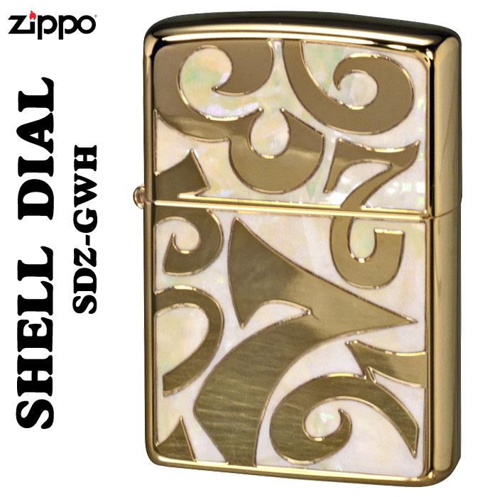 zippo シェルダイアル 貝貼り シェル 深彫り彫刻金ポリッシュ仕上げSDZ-GWH画像