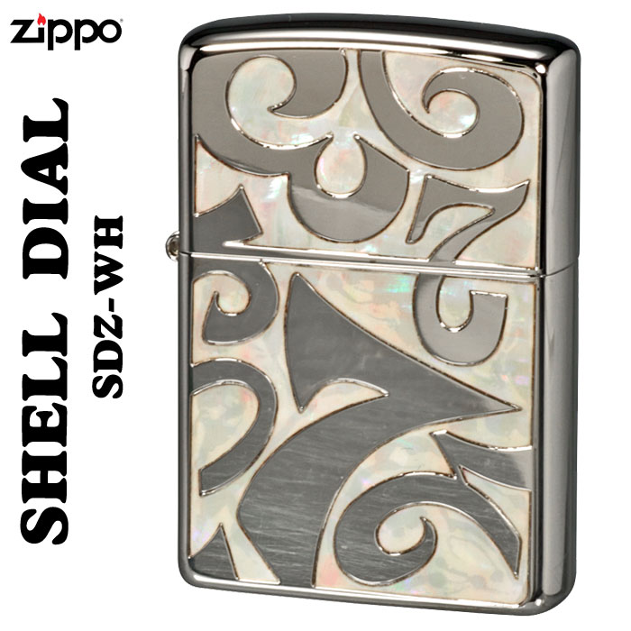 zippo シェルダイアル 貝貼り シェル 深彫り彫刻銀ポリッシュ仕上げSDZ-WH画像