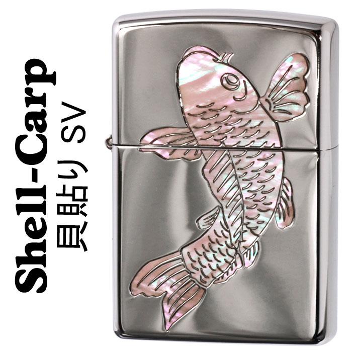 zippo(ジッポーライター)シェル 昇り鯉 天然貝貼り シェルカープ SV画像