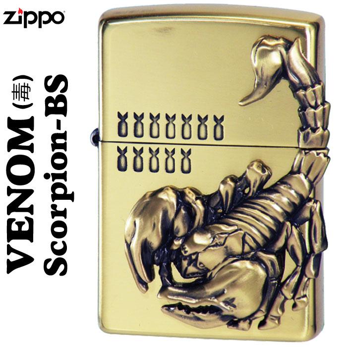 zippo(ジッポーライター)ヴェノムvenom(毒) スコーピオンScorpion(サソリ)メタル貼り BS画像